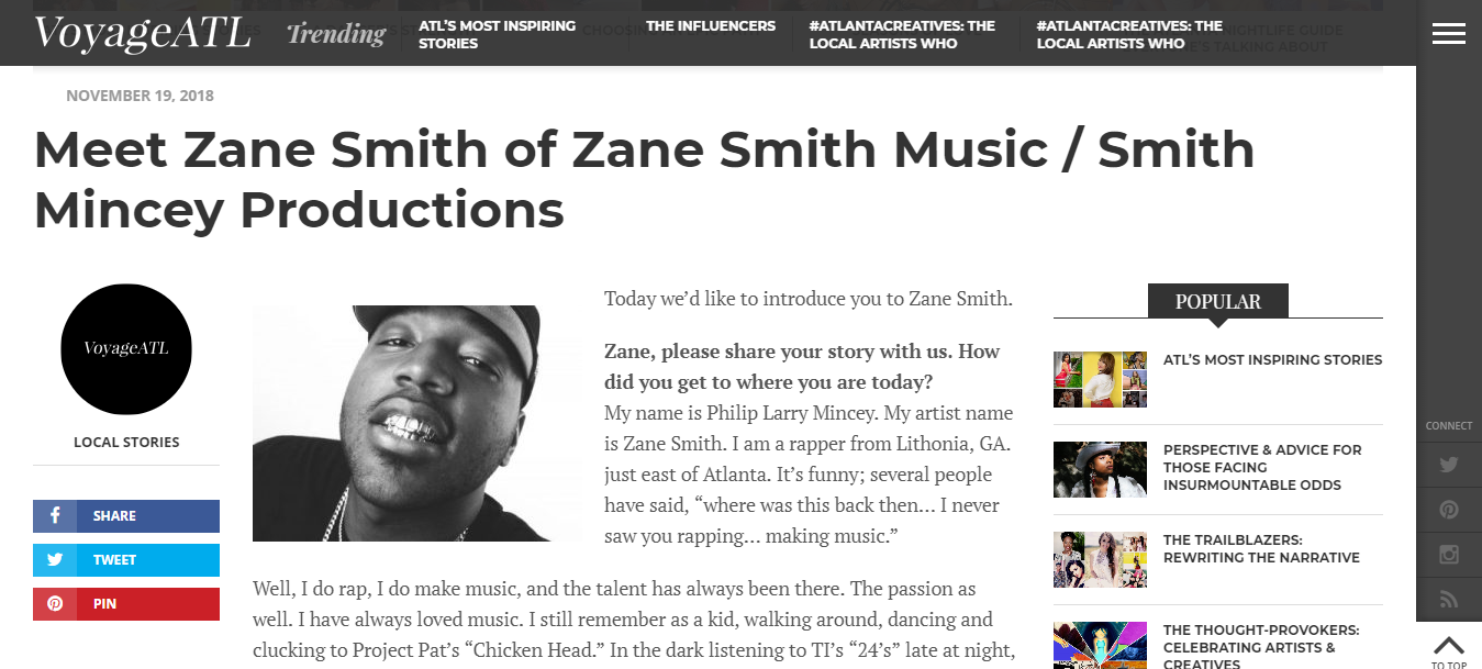 Screenshot of Metro Atlanta rapper Zane Smith's recently published article with VoyageATL.